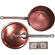 SALE Mid to late 1800s American copper sauce pan with original cover (both stamped: E ...