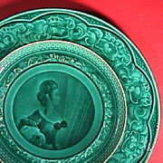 SALE c1842-55 Rubelles Pottery green glazed Plate with portrait of a Lady (Baron du Tremblay)