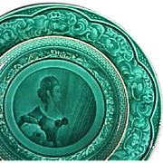 SALE c1842-55 Rubelles Pottery green glazed Plate with portrait of a Lady (Baron du ...