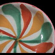 SALE Mid-1900s polychrome tin glazed Majolica small dish (20th C. Mexican or Spanish Maiolica)