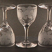 SALE Late 1800s Hand blown, engraved and cut stem small Wine Glass (four remaining)