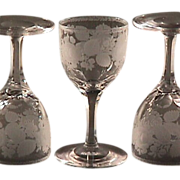 SOLD Late 1800s Hand blown, engraved & cut stem Wine Glass (five available)
