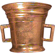 SOLD 1808 (dated) & inscribed Brass Mortar with Pestle