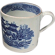 SALE c1795 English Blue and White Porcelain small Can or Child's Mug with Chinese Riverscape