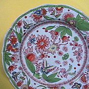 SALE c1820 hand painted Mason's Patent Ironstone China Plate with Butterflies, Flowers and G