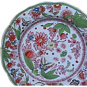 SALE c1820 hand painted Mason's Patent Ironstone China Plate with Butterflies, Flowers and .