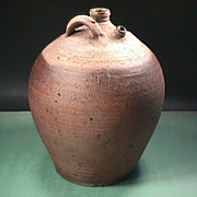 SALE Late 1700s (or older) Large Stoneware ovoid Costrel Jug with handles and two spouts