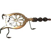 SOLD c1800 Hand Wrought Iron Frame Trivet Stand with Cast Brass facing and hanger prongs
