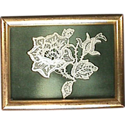 SALE Hand made Lace Flower in Gilded Wood Frame from early 1900s or older