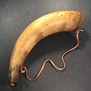 SALE mid 1800s American Powder Horn with original wrought iron hanging hooks