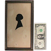 SALE c1900 Cut Paper Silhouette of Woman wearing Spectacles (signed and framed under glass)