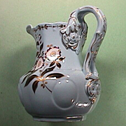 SOLD c1835 Elegant molded and Gilded Stoneware Pitcher by Ridgway in PERFECT condition!