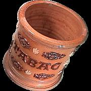 SALE Mid-1800s Salt Glaze Stoneware decorative Tobacco Jar labeled TABAC