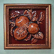 SALE c1890 High Relief Fruit Tile in Frame from United States Encaustic Tile Works, Indianapol