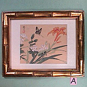SALE 1900s signed Chinese Watercolor on Silk in Gilded Bamboo Frame (mid 20th C frame)