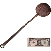 SALE Early 1800s (or older) Wrought Iron Ladle (Spoon) with Decorative Twists and Coiled ...