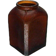 SALE c1885 Small Brown Snuff Bottle with Beveled Corners (hand blown in mold, 2 3 ...