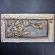 SALE Mica encrusted Chinese Carved Wood Panel with Bird and Flowers c1850 (or older)