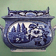 SALE c1825 Dark Blue Printed Pearlware Sugar Bowl for American Trade by William Adams