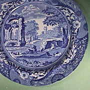 SALE c1820 Pearlware Plate with Italian pattern and brocade-style border by John Mare