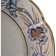 SALE c1815-20 Unusual Hand Painted Mason's Patent Ironstone Plate with Gilded Carnations
