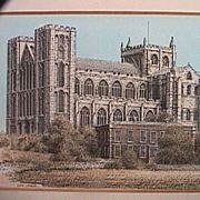 SALE Hand colored Print in Matted Frame of Ripon Cathedral, Yorkshire, by John Bangay (late ..