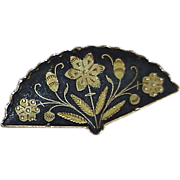 SALE Damascene Fan Brooch