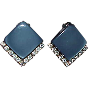 REDUCED CORO Blue/Gray Thermoset and Rhinestone Earrings
