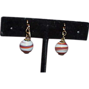 REDUCED Hillcraft Unusual Art Glass Slide Earrings