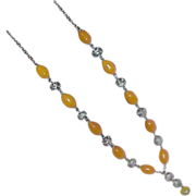 SALE Butterscotch Oval Glass Bead Silvertone Necklace