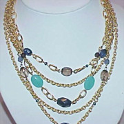 REDUCED Vintage Art Glass and Multi Chain Necklace