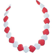 REDUCED Red and White Square Disc Plastic Necklace