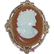 REDUCED Vintage Celluloid Cameo Brooch