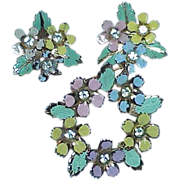 REDUCED Vintage Pastel Enamel Floral Wreath Brooch and Earring Set -Demi Parure