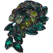 REDUCED Juliana Deep Blue Green and Peridot Green Rhinestone Brooch