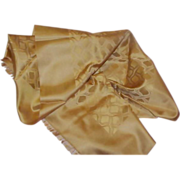 REDUCED Gorgeous Old Golden Brown Silk Scarf (as is)