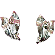 BSK Signed Silver Tone Metal Earrings