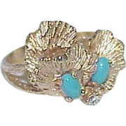 Elegant Gold Tone and Faux Turquoise Bead Cocktail Ring - 18KT HGE