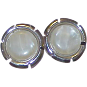 SARAH COVENTRY Signed Mother-of-Pearl Button Style Earrings