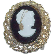 SALE Vintage Black and White Celluloid Cameo Belt Buckle