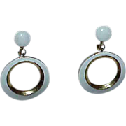 "Elegant CROWN TRIFARI"" White Enamel Circle Dangle Earrings"