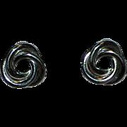 SALE Vintage CROWN TRIFARI Silvertone Love Knot Earrings