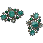 REDUCED Art Glass Stone, Rhinestone and Faux Pearl Pendant and Brooch Set.