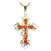 Stunning Red Rhinestone Cross Pendant on Chain