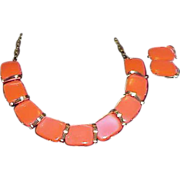 SALE Neon Orange Thermoset Necklace and Earring Set - Demi Parure
