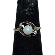 REDUCED 14K Gold Pearl White Sapphire Estate Ring