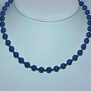REDUCED Vintage MONET Signed Royal Blue Bead Necklace