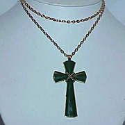 Vintage AVON Green Lucite Modernist Cross pendant on Chain