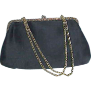 REDUCED La Regale Ltd Black Satin Evening Bag