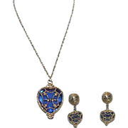 SALE Designer PARKLANE Cobalt Blue Heart Pendant on Chain with Earrings
